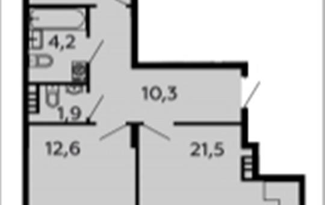 2-комнатная квартира, 68.9 м2, 5 этаж