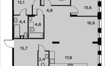 4-комнатная квартира, 102.6 м2, 2 этаж