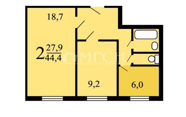 2-комнатная квартира, 44.4 м2, 6 этаж