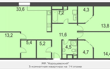 3-комнатная квартира, 119.5 м2, 14 этаж