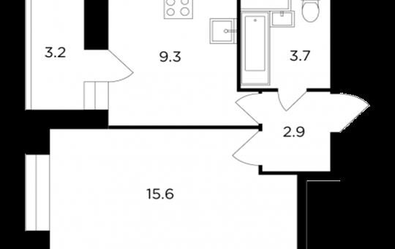 1-комнатная квартира, 33.1 м2, 13 этаж