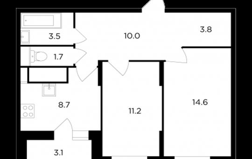 2-комнатная квартира, 54.97 м2, 12 этаж