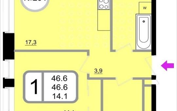 1-комнатная квартира, 46.6 м2, 11 этаж