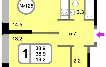 1-комнатная квартира, 38.9 м2, 17 этаж