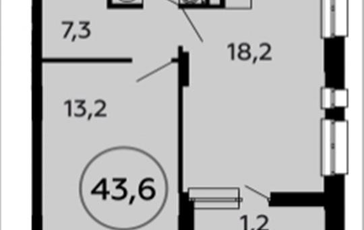 1-комнатная квартира, 43.6 м2, 11 этаж