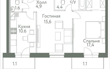2-комнатная квартира, 56.8 м2, 10 этаж