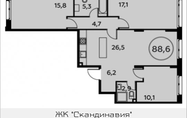 3-комнатная квартира, 88.6 м2, 2 этаж