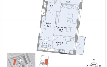 2-комнатная квартира, 69.3 м2, 27 этаж