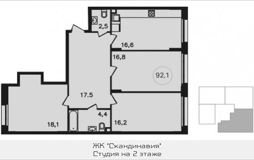 Студия, 93.8 м2, 2 этаж