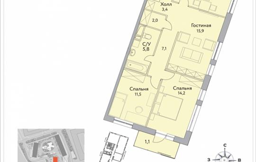 3-комнатная квартира, 75.3 м2, 19 этаж