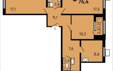 3-комнатная квартира, 76.4 м2, 9 этаж