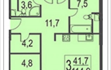 3-комнатная квартира, 114.9 м2, 2 этаж