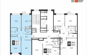 3-комн квартира, 71.3 м<sup>2</sup>, 6 этаж_1