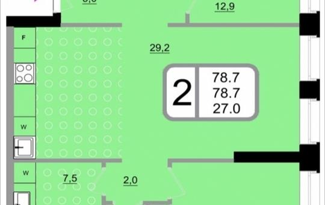 2-комнатная квартира, 78.7 м2, 7 этаж
