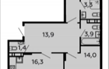 2-комнатная квартира, 72.8 м2, 14 этаж