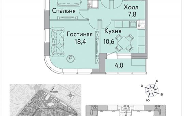2-комнатная квартира, 58.3 м2, 12 этаж