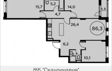 3-комнатная квартира, 86.3 м2, 10 этаж