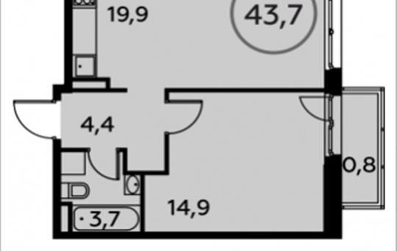 1-комнатная квартира, 43.7 м2, 14 этаж