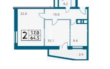 2-комнатная квартира, 64.5 м2, 3 этаж
