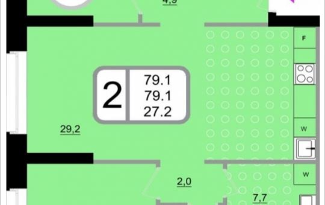 2-комнатная квартира, 79.1 м2, 21 этаж