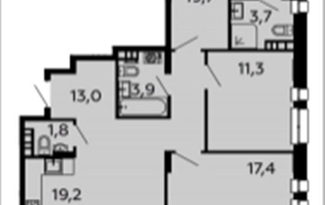 3-комнатная квартира, 91.7 м2, 4 этаж