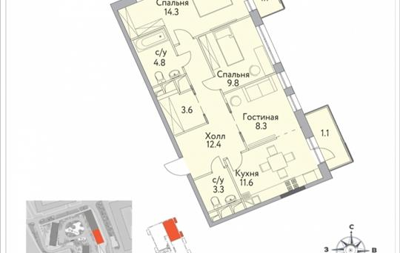 3-комнатная квартира, 72.2 м2, 19 этаж