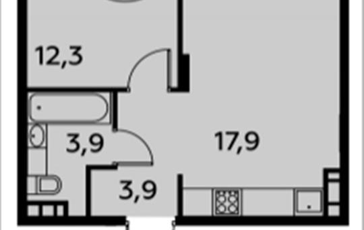 1-комнатная квартира, 39.2 м2, 15 этаж