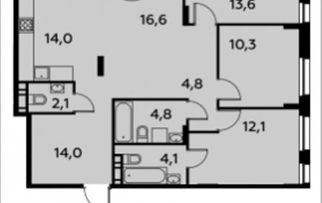 4-комнатная квартира, 97.6 м2, 13 этаж