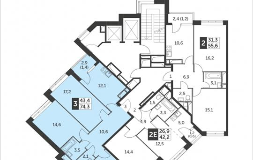 3-комнатная квартира, 74.3 м2, 8 этаж