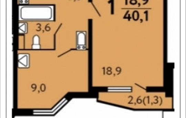 1-комнатная квартира, 40.1 м2, 20 этаж