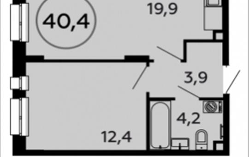 1-комнатная квартира, 40.4 м2, 2 этаж