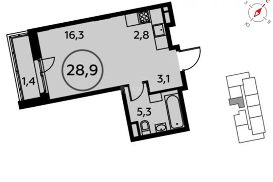 Студия, 28.9 м2, 12 этаж