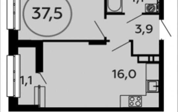 1-комн квартира, 37.5 м2, 15 этаж