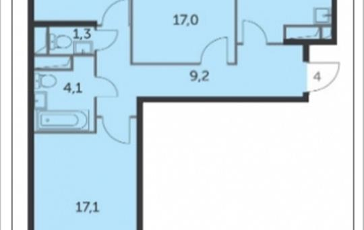 3-комн квартира, 73.8 м2, 16 этаж