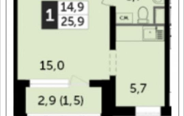 1-комн квартира, 25.9 м2, 23 этаж