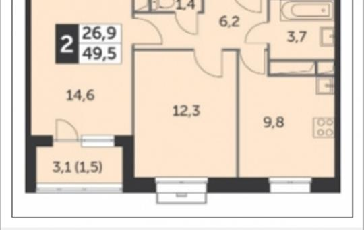 2-комн квартира, 49.5 м2, 17 этаж