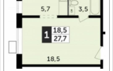 1-комн квартира, 27.7 м2, 4 этаж