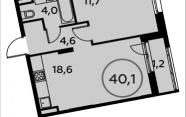 1-комн квартира, 40.1 м2, 11 этаж