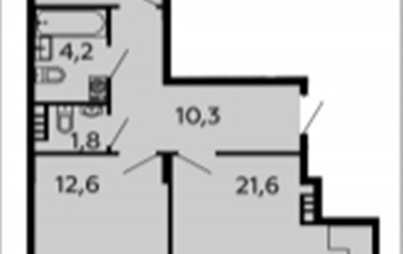 2-комн квартира, 69 м2, 3 этаж