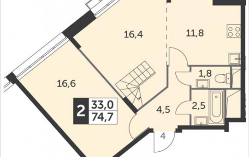 2-комн квартира, 74.7 м2, 22 этаж
