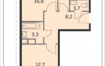 2-комн квартира, 52.9 м2, 11 этаж