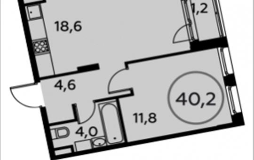 1-комн квартира, 40.2 м2, 10 этаж