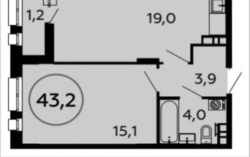 1-комн квартира, 43.2 м2, 10 этаж