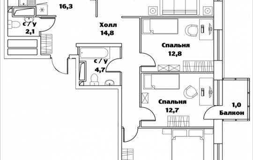4-комн квартира, 106.3 м2, 23 этаж