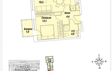 1-комн квартира, 40.6 м2, 28 этаж