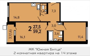 2-комн квартира, 59.2 м2, 14 этаж