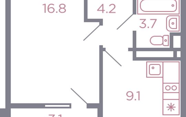 1-комн квартира, 35.4 м2, 4 этаж
