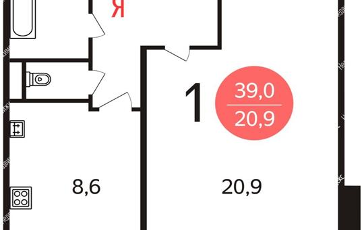 1-комн квартира, 39 м2, 14 этаж
