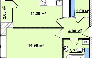 1-комн квартира, 37 м2, 15 этаж