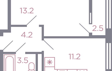1-комн квартира, 33.4 м2, 3 этаж